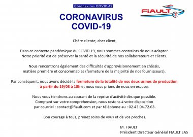 Exceptional closure following the COVID 19 pandemic from 19/03 at 6 p.m.